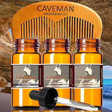 Hand Crafted Caveman® 3 Scents Manly Beard Oil beard conditioner + FREE Comb