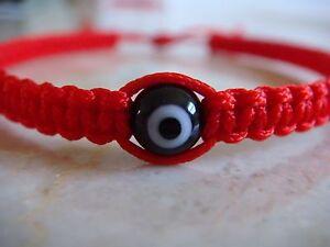 Pulsera Rojo Para El Mal De Ojo negro Hecha A Mano Con Ojo de Cristal