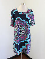 Aryeh Nylon Medallion Print Tunic Dress Size S Blue Purple Multi Color Boho