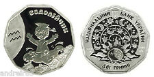 Coin 2 UAN hryvnia Aquarius Водолійчик 2014 Silver Kids Zodiac Ukraine MC181