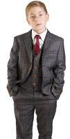 Boys Brown bronze Suit Tuxedo 5 Piece Set Windowpane Peak Lapel Kid Formal 35071