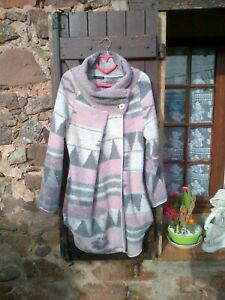 MADE IN ITALY GILET MANTEAU LONG ROSE GRIS