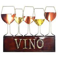 Elements Vino Wine Glass Silhouette Metal Wall Mounted Art Décor Barware