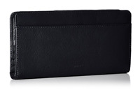 Buxton Roma Double Sided Black Wallet Leather Lining Snap Closure Pockets Slots