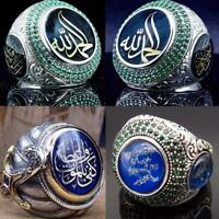 Turkish Handmade Jewelry Silver İslamic Men's Ring Size 7-10