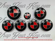 BLACK & RED MSPORT Badge Emblem Overlay WRAP FOR BMW HOOD TRUNK RIMS FIT ALL BMW