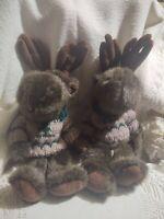 2 Teddy Boyd's Bear w Reindeer Antlers Plush Stuffed Toy Animal w Sweater Twins