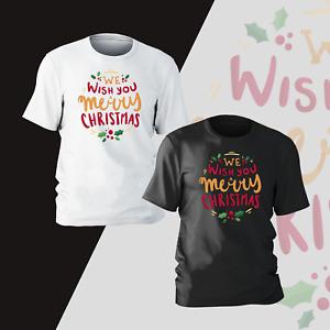 We Wish You Merry Christmas Xmas T-Shirt Present Gift Women Kids Mens Unisex Tee