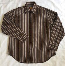 Robert Talbott Carmel Mens Button Front Shirt Large Stripes Brown Black