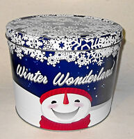Winter Wonderland The Popcorn Factory Tin Can Snowman Snowflakes EMPTY