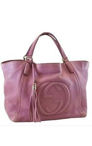 GUCCI  Handbag Soho Interlocking GG Calfskin Leather Tote