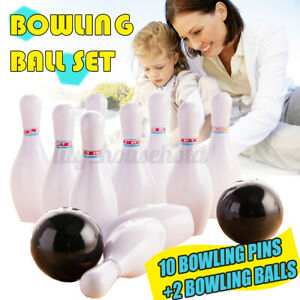 12Pcs Kinder Bowling Set Kegel Pins Spielzeug Ball Spiel Spaß Indoor Geschenk