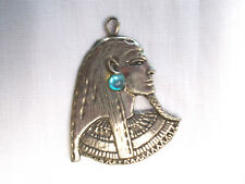 GREAT EGYPTIAN PHARAOH w BLUE GEM PEWTER ADJ CORD NECKLACE CAST METAL JEWELRY