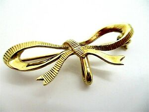 Pretty Vintage 9ct 375 Solid Gold Bow Suspension Pin Brooch B'ham 1979 3.24g