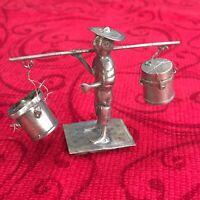Vintage Sterling Silver Man Engraved FIGURE Asian Art Sculpture Miniature