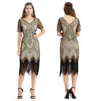 Women's 1920s Gatsby Inspired Sequin Beads Long Fringe Flapper Tassels Hem Dress