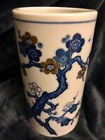 "Superb Chinese Porcelain Ceramic Blue White Plum Blossoms Vase Brush Pot 7.5"" T"