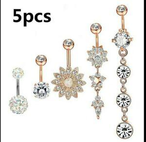 5 Piercings Nombril Acier chirurgical