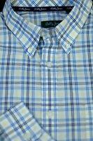 Bobby Jones Men's White Yellow Blue Check Cotton Casual Shirt XL XLarge