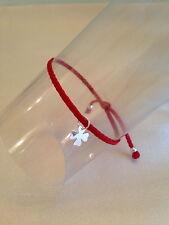 """Bracelet Cordon / lien rouge Charm """"Trèfle"""" argent 925"""