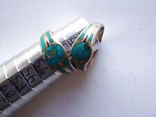 Belle bague en argent et turquoise forme ronde taille 50 stock limité vieilli