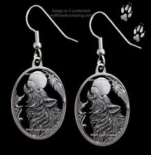 MOON SONG WOLF EARRINGS - DIAMOND CUT WILD WOLVES EAGLE FEATHER - FREE SHIP *