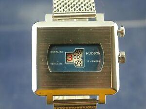 Vintage Hudson Instalite Gents Jump Hour Swiss Watch Circa 1970s NOS, Serviced