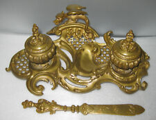 19 C. French Bronze Ornate Double Inkwell,Letter Opener c.1870s