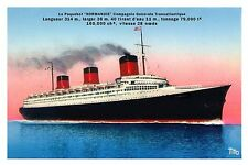 French Line SS Normandie 12 x 18