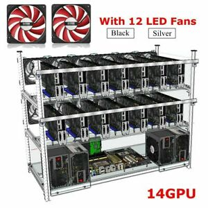 14 GPU Miner Rig with 12 Fans Open Air Mining Frame Case Aluminum Holder ETH BTC