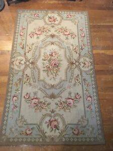 French Aubusson Needlepoint Rug 3x5 Wool Hand-Knotted Shabby-Chic