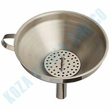 Kitchen Funnel Large Stainless Steel w Detachable Strainer Wide Mouth Filling
