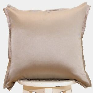SALE Taupe cotton blend satin throw pillow cover 18x18 Luxury Piped Toss Cushion
