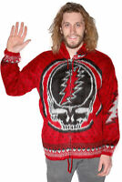 """Grateful Dead """"SYF"""" Alpaca Style Red Zip-Up Sweater Hoodie - FREE SHIPPING"""