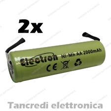 2 BATTERIE PILE RICARICABILI AA STILO NI-MH 1,2V 2000mAh SALDARE 14x50mm 2200mAh