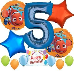 Finding Nemo Party Supplies Balloons Decoration Bundle for 5th Birthday