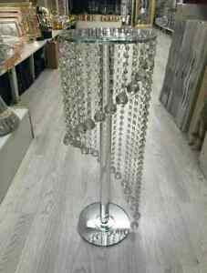 Crush Diamond 60cm Silver Mirrored Side Table Modern Glass Stand Sparkle Crystal