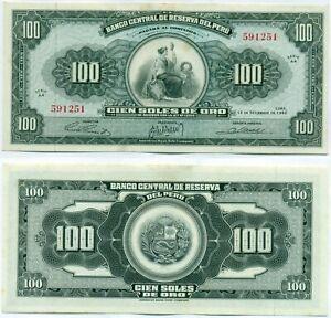 PERU NOTE 100 SOLES DE ORO 12.9.1962 P 90 UNC