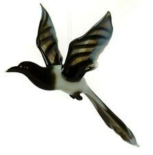 "Magpie Black, Figurine, Blown Glass ""Murano"" Art Bird Ornament . Made in Russia"