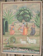 -Art d'Asie Peinture Traditionnelle Scène Mythologique sur Textile Inde