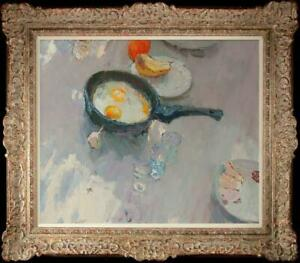 """Hand-painted Original Oil painting art Still Life Fried Eggs On Canvas 20""""X24"""""""