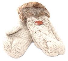 Aran Traditions Womens Ladies Winter Warm Faux Fur Oatmeal White Mittens