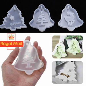 3X Christmas Hanging Tag Silicone Jewelry Mold Resin Epoxy Mould Casting Craft