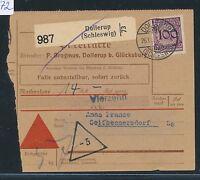 86572) DR Weimar NN - Paketkarte 1931 ab Dollerup (Schleswig) EF 100PF