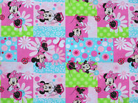 FAT QUARTER DISNEY FABRIC  MINNIE MOUSE PATCH FLOWERS SPRING CREATIVE COTTON  FQ