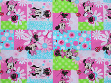 FAT QUARTER DISNEY MINNIE MOUSE PATCH FLOWERS SPRING CREATIVE 100% COTTON FABRIC