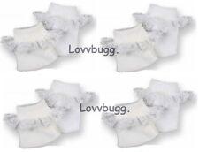 "4 Pairs White Socks w Lace for 15"" 18"" American Girl Doll n Preemie Baby too"