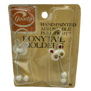 Vintage Goody Adjustable Pull Tight Ponytail Holders Mouse Bunny White