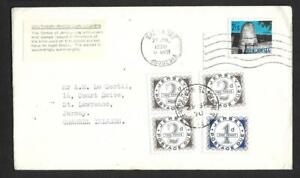 RHODESIA, 1970 SURCHARGEDMAIL TO JERSEY, TAXED AND 7d POSTAGE DUES ADDED