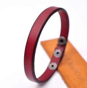 Cool Plain Slim Chic Genuine Leather Bracelet Cuff Wristband Men Women Red